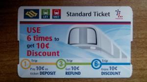 Perjalanan dari Kuala Lumpur Ke Singapore, Tiket Standard untuk LRT dan MRT Singapore