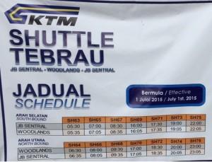 Perjalanan dari Kuala Lumpur Ke Singapore, KTM Shuttle Tebrau Schedule