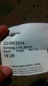 Perjalanan dari Kuala Lumpur Ke Singapore, Harga Tiket Serdang ke KL Central