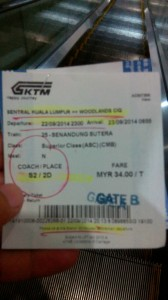 Perjalanan dari Kuala Lumpur Ke Singapore, Tiket KTM Intercity - Senandung Sutera