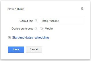 Callout Extension di Adwords