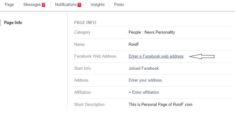 Facebook Page Web Address