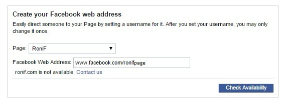 Facebook Page Web Address